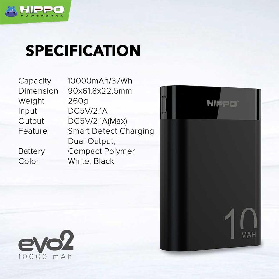 Spesifikasi Hippo Powerbank Evo2 Compact 10000 mAh