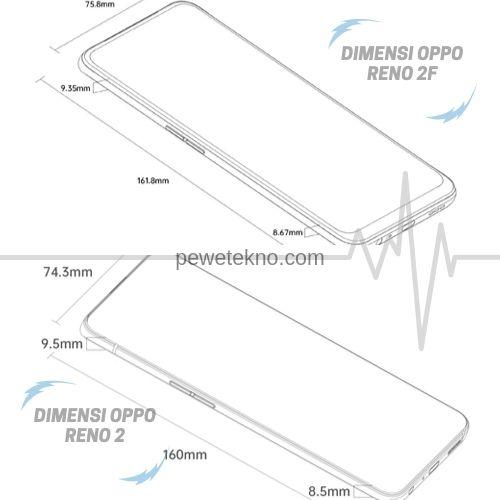Dimensi - OPPO RENO 2 dan OPPO RENO 2F